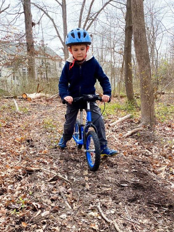 Little boy riding a bike on a trail.