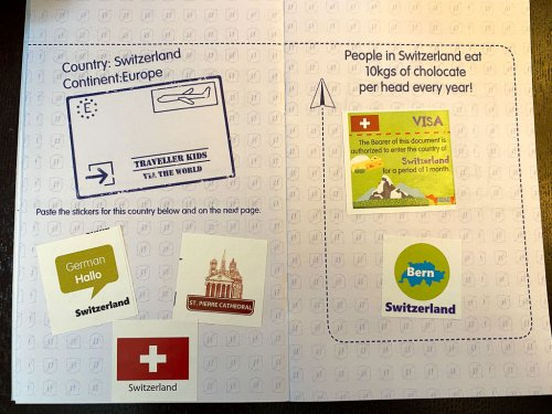 Little Passport with stickers for the country of Switzerland