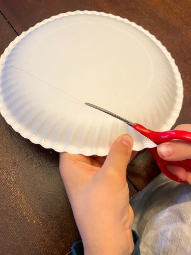 Little boy cutting the paper plate.