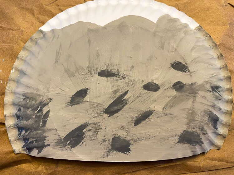 Paper plate with the darker grey rocks to add depth.