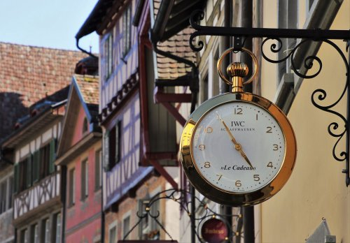 Historic Swiss town with clock
