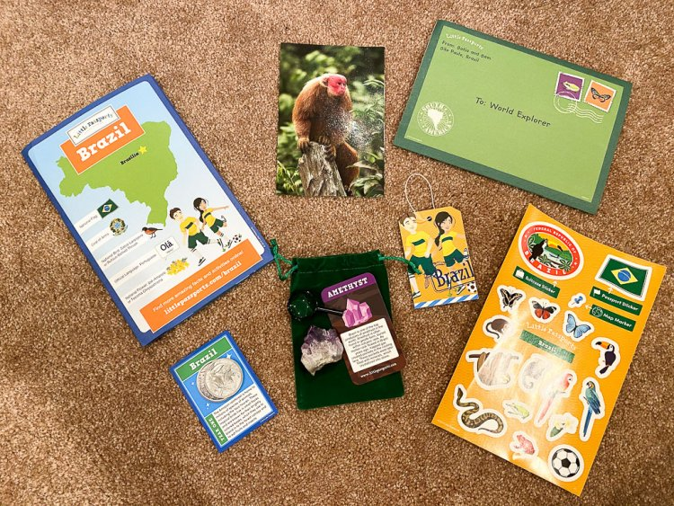 Little Passports Kit for Brazil: includes stickers, activities, coin, postcard and an amethyst.