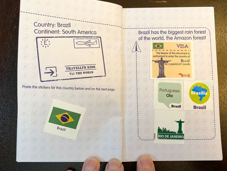Passport with stickers for the country of Brazil.