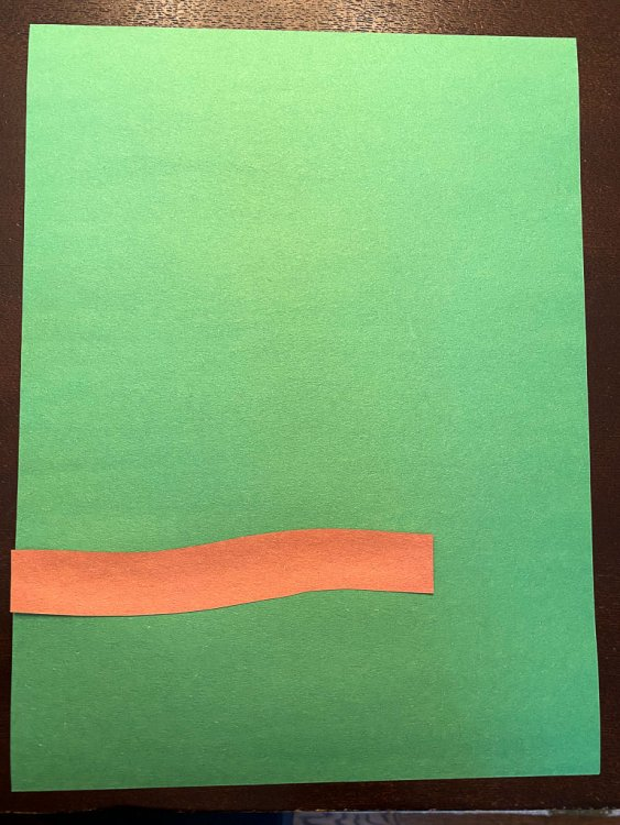 Branch glued to a green piece of construction paper to start the Brazilian Parrot craft.