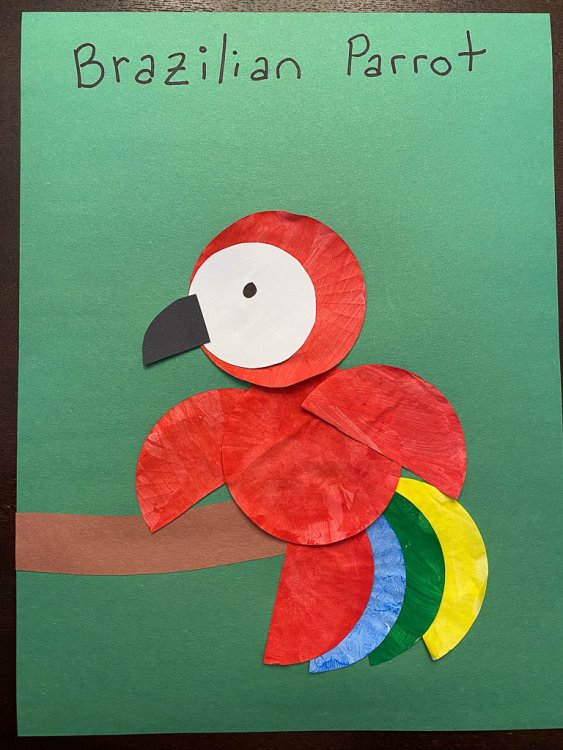 Complete Brazilian Craft to make a parrot.