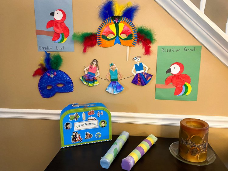 Virtual Travel to Brazil crafts and activities. Photo shows rain makers, Brazilian mask crafts, Brazilian dancers, parrots and more.