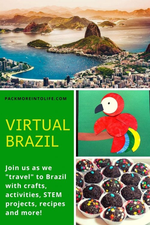 We love learning about new cultures and Brazil is a favorite. Teach your children about Brazil with this Brazilian Lesson Plan full of creative and fun ideas for all ages. Included are plenty of free resources from map activities, favorite books about Brazil, a STEM activities, plenty of Brazilian crafts including parrots, carnival dancers and recipes. Kids will be active during the Brazilian samba skills video and might learn a few Portuguese phrases in the video (included). Travel around the world in this virtual trip to Brazil. | Brazil unit study for kids | Brazil crafts for kids | Brazil homeschool unit | Brazilian crafts | virtual travel | virtual travel around the worlds |#Brazil #homeschool #virtualtravel #travelwithkids