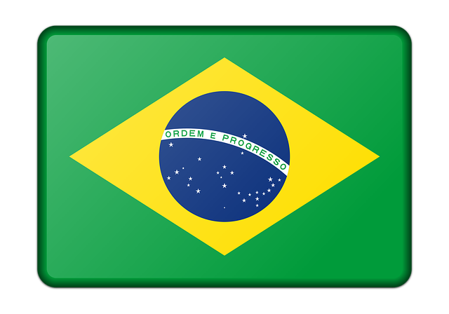 Map of Brazil with green background, yellow rhombus and blue center.