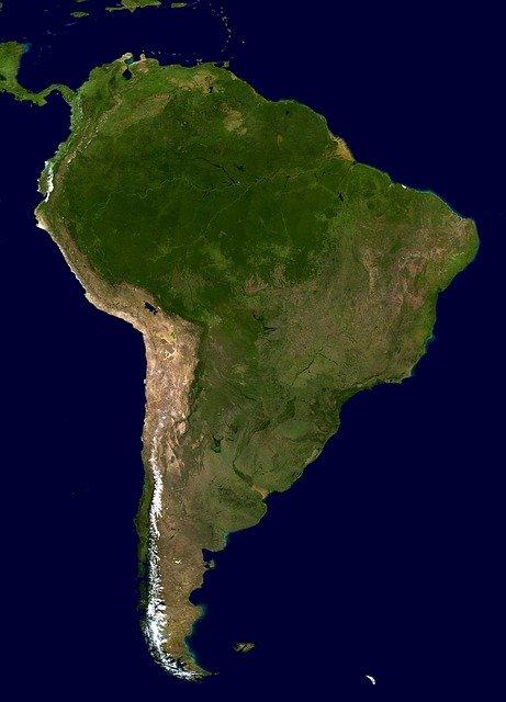 Satellite image of Brazil.