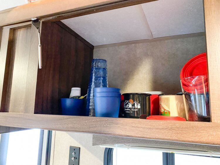 Cabinet storage for cups, plates and more.