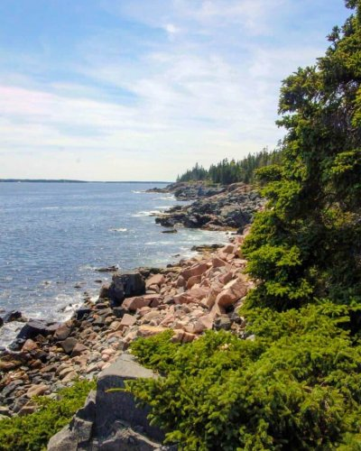 View of the coast line from the Acadia National Park Loop Road